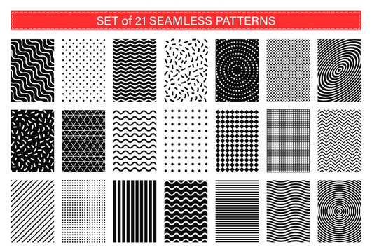 Set of 21 memphis seamless patterns. Collection of geometric abstract background. Retro style 80-90s.