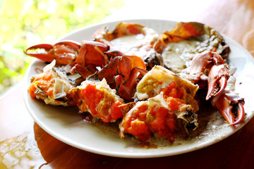 Steamed sea crab on a wooden table