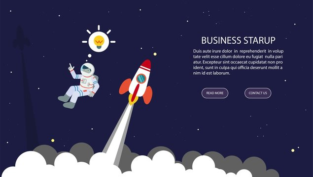 Business startup. Background with space, rockets and astronaut. Vector.