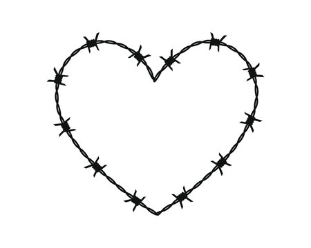 Barbed wire black silhouette frame heart. Vector illustration image. Isolated on white background.