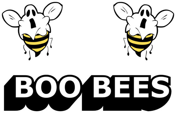 Boo Bees - Halloween vector illustration of two funny bees as a spook - useful for t shirt design