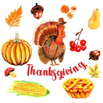 Thanksgiving Autumn Background. Watercolor drawing, turkey, pumpkin, pie, leaves, mushrooms on a white background