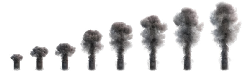 Smoke flow at different stages development isolated on a white. 3d illustration