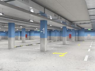 Wall Mural - Large, empty, well-illuminated underground parking, 3d illustration