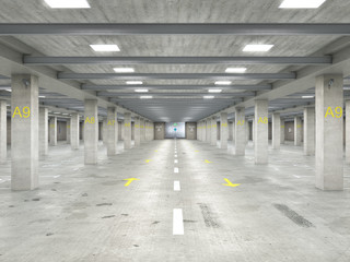 Wall Mural - Empty well-illuminated large underground parking with concrete floor and columns, 3d illustration