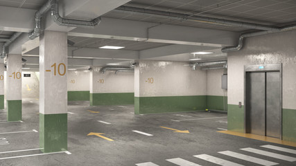 Wall Mural - Underground parking in white and green tones with elevator, 3d illustration