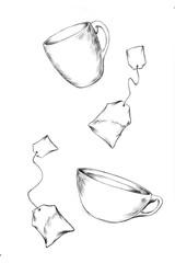 fliegende Teetassen und fliegende Teebeutel