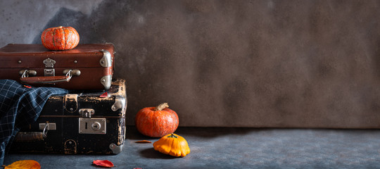 Autumn travel concept. Vintage old fashioned Suitcases with pumpkins and autumn leaves on dark background. Banner, travel agency. Copy space