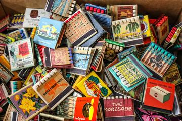 Set of vintage matchboxes in New York  flea market