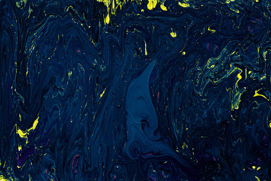 Navy Blue and Yellow Fluid Liquid Acrylic Paint Marbled Texture