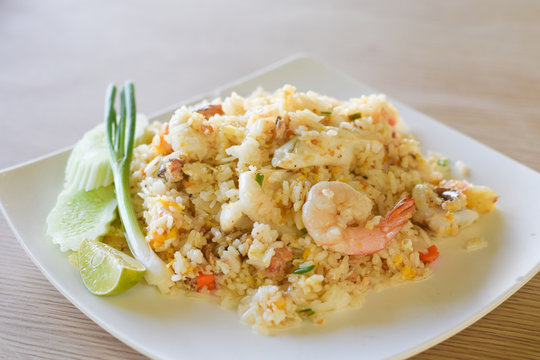 fried rice with shrimp and seafood.
