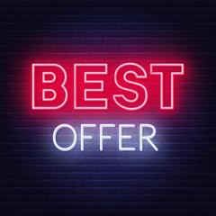 Fototapete - Best offer neon sign on dark background. Vector illustration.