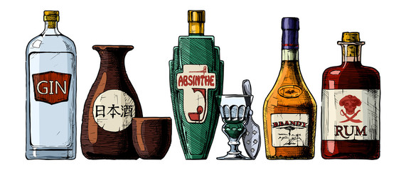 Wall Mural - bottles of alcohol. Distilled beverage