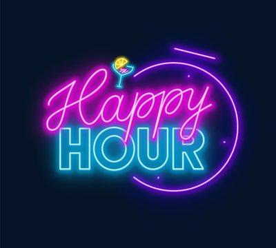 Happy hour neon sign on dark background. Vector illustration.
