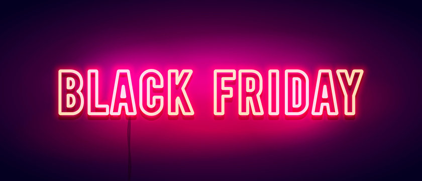 Vector Illustration colorful retro black friday neon light banner.