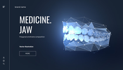 Jaw low poly wireframe landing page template