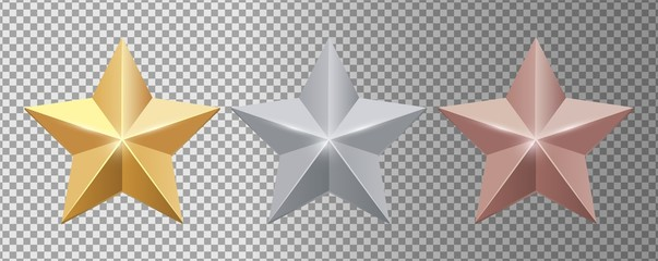Metal stars. Realistic gold silver bronze stars vector set. Gold star award, golden, silver and bronze illustration