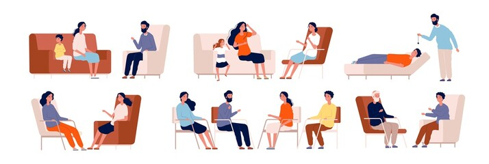 Psychotherapy. Adult counselor family group therapy treatment consulting crowd vector characters collection. Psychotherapy family, sitting treatment, people therapy consulting illustration