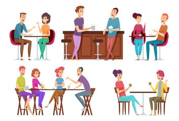 Friends meeting cafe. Restaurant dinner happy people group eating and joking talking and smiling friends vector. Illustration people together, talking and sitting