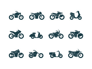 Motorcycle silhouettes. Vehicle symbols motorbikes travel cycling bike chopper street transport vector black pictures. Illustration speed bike, vehicle motorcycle, motorbike transport