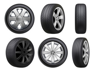 Wheels realistic. Tyres road maintenance vector automobile 3d automobile items collection. Auto wheel tyre, equipment item for car, realistic black rubber tyre illustration Fototapete