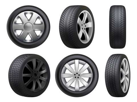 Wheels realistic. Tyres road maintenance vector automobile 3d automobile items collection. Auto wheel tyre, equipment item for car, realistic black rubber tyre illustration
