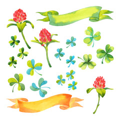 Vector set of watercolor isolated elements: ribbons, clover flowers and .shamrocks
