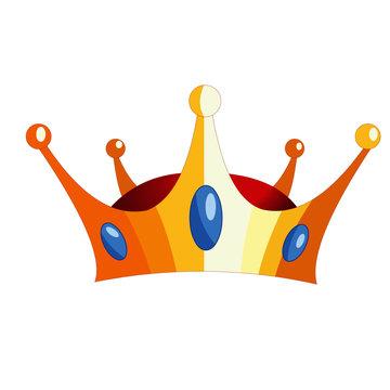 Golden King Crown with Gemstones  Vector Image