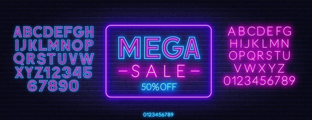 Mega sale neon sign on dark background. Discount template. Neon alphabet on a dark background. Template for design.