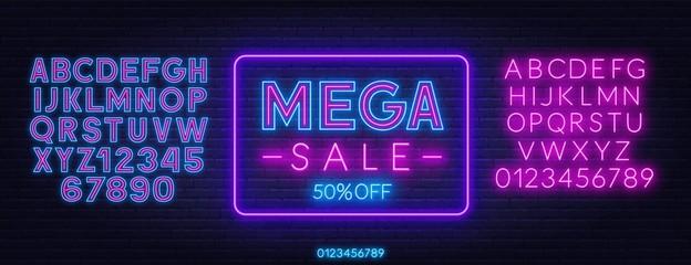 Mega sale neon sign on dark background. Discount template. Neon alphabet on a dark background. Template for design. Fotomurales