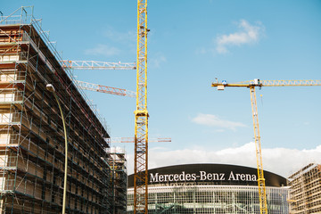 Berlin, 03 October 2017: Reconstruction of the multi-purpose indoor stadium called Mercedes-Benz Arena. The arena is designed for sports and recreational activities.