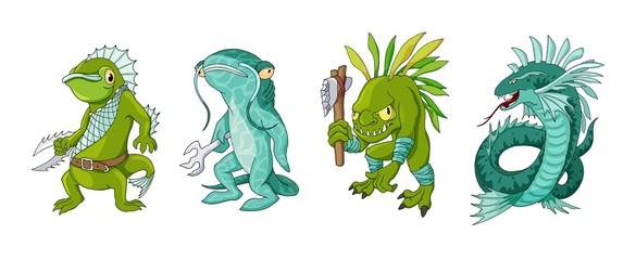 Cartoon monster sea creature characters set. Vector clip art illustration