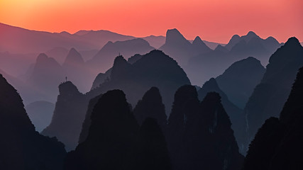 Zelfklevend Fotobehang Guilin Sunset landscape of yangshuo in guilin,china