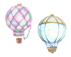 Watercolor hot air balloons set. Hand painted vintage fillustrations isolated on white background. Baby greeting design objects