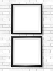Frames on the wall. Empty framings for your design. Brick wall. Place for text. Vector mock up for picture, painting, poster, lettering or photo gallery.