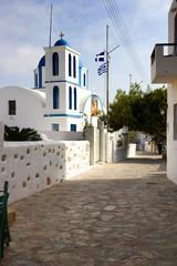 Koufonissia island - church of Agios Georgios in Chora,main street popular centre with restaurant and shops, Lesser Cyclades island group, Greece