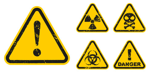 Set of grunge Danger signs isolated on white background. Vector illustration