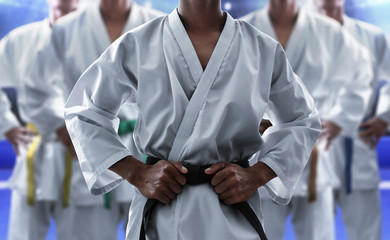 Karate martial arts fighter in arena