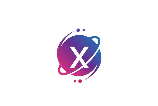 Initial letter circle planet with orbit and dots gradient color logo template