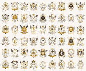 Classic style emblems big set, ancient heraldic symbols awards and labels collection, classical heraldry design elements, family or business emblems.