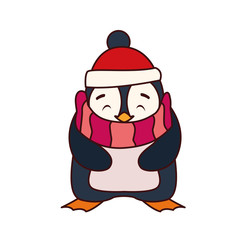 penguin with hat and scarf in white background