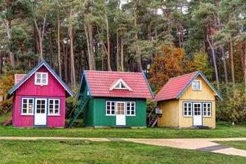 raditional colorful souvenir houses. Baltic coast, Lithuania.