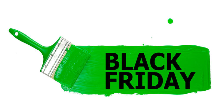 strip of green paint, painted with a paint brush, with the black inscription black Friday, on a white background. isolate..