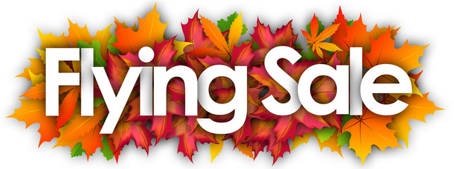 Flying Sale word and autumn leaves background
