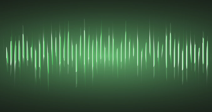 Equalizer with sound waves on a green background