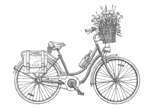 Сity bicycle with flowers
