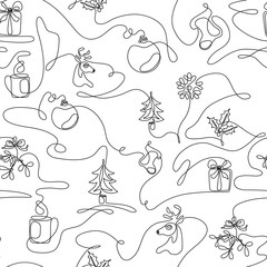 One line drawing Christmas seamless pattern with fir, gift box, reindeer, mistletoe, cup of hot beverage, stocking, ball decoration, snowflake. Continuous line art minimalist winter background. Vector