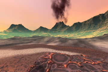 In de dag Diepbruine Volcano, a martian landscape, rocky mountains, dry lava on the ground and smoke in the sky.