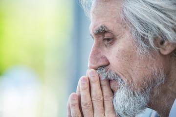 gray-haired elderly man