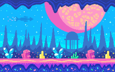 Crystals area on alien planet. Pixel art game location.